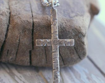 20% OFF Sale Mens Sterling Silver Cross Necklace - Rugged cross charm, christian jewelry