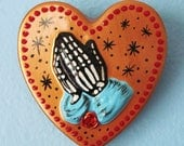 Praying Hands Day of the Dead Art Sacred Heart Wall Hanging - CUSTOM by Illustrated ink - CHOOSE Your Own Colors