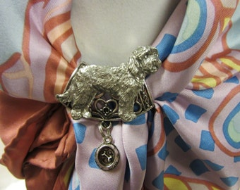 Sweet Goldendoodle Scarf Slide with Engraved Feeding Bowl-Limited Edition
