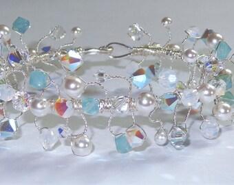 Wire Wrapped Swarovski Crystal Pearl Bangle Bracelet Formal Wedding Statement Bridesmaid Jewelry
