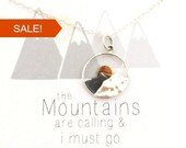 The Mountains are Calling and I Must Go, gift for her, mountain necklace, Sterling silver necklace, jewelry gift for hiker, sunrise, ski