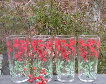 Four Vintage Ice Tea Glasses - Eleven Ounce Tall Tumblers