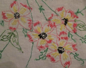Vintage Embroidered Linen Dresser Scarf/ Table Runner - Pink and Green Floral Embroidery