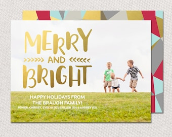 Gold foil holiday photo card, Merry and bright printable with gold foil look, Christmas cards Merry and Bright, printable or printed cards