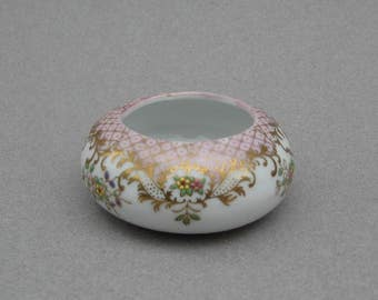 Antique Hand Painted Porcelain Ring Dish with Gold Trim Delicate 1920s Vintage Trinket Dish Vanity Accessory