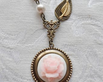 1/2 Price Sale- Pink Cabbage Rose, Necklace with Vintage Beads