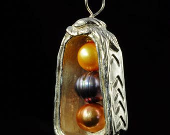 Three Pearls in a Fine Silver Box...one of a kind pendant