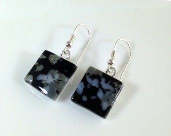 Handmade Sterling Silver Fused Glass Earrings in Gift Box - black and grey  - FREE UK SHIPPING