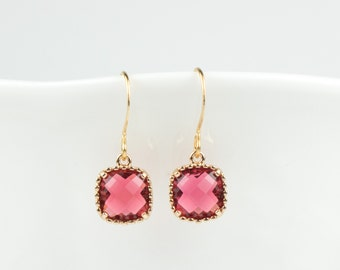 Ruby Gold Square Earrings, July Birthstone Gold Earrings, July Birthday Gift, Bridesmaid Earrings, July Birthstone Jewelry, Gold Earrings