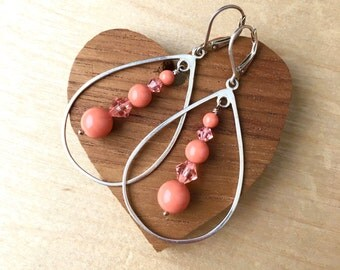 Large Tear Drop Earrings with Coral Beads