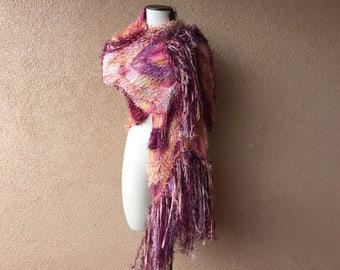 "Hand Dyed Cotton Knit Fashion Scarf Womens Scarf Accessories Shawl Wrap Peach, Coral, Maroon, Burgundy, Mauve w Ribbon ""Vermilion Sundown"""