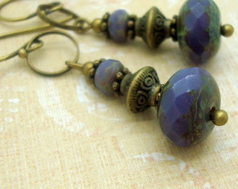 Boho Earrings in a Zen Style with Stacked Purple Glass Beads