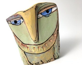 """Owl art, ceramic owl sculpture, whimsical, colorful owl figurine, 3-3/4"""" tall, """"Owl Person Dreaming Love."""""""