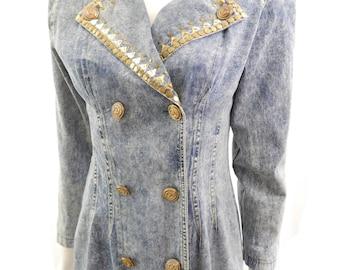 Vintage 80s Southwest Bedazzled Denim // Collared Jean Jacket Dress// 124