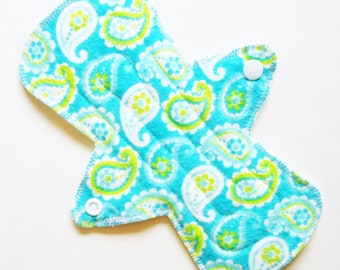 "8"" Flared Cotton Flannel Regular Cloth Menstrual Pad, Paisley Bright Blue Green White, Cloth Sanpro CSP, Contoured Incontinence Pad Washable"