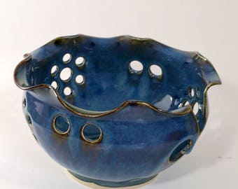 Blue Yarn Bowl Wheel Thrown Pottery with Scalloped Rim