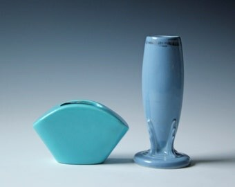 Vintage pair of Fiesta pottery ceramic vases pastel blue - fan shaped vase and single stem vase - teal