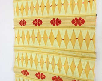RESERVED.....Large vintage fiber textile art wall hanging / YELLOW diamond pattern / retro 1970's bohemian modern / boho chic