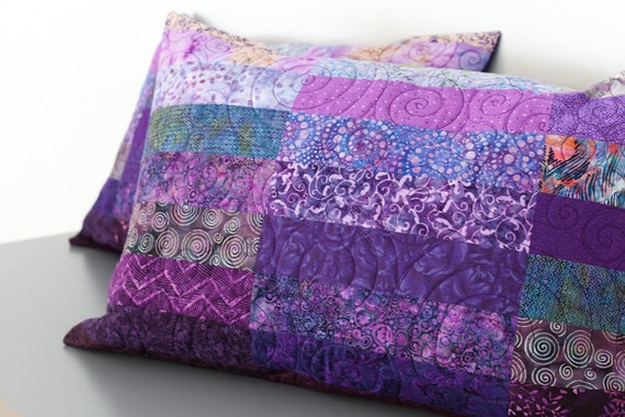 Quilted Pillow Shams Set of Two Purple Modern Patchwork : quilted king size pillow shams - Adamdwight.com