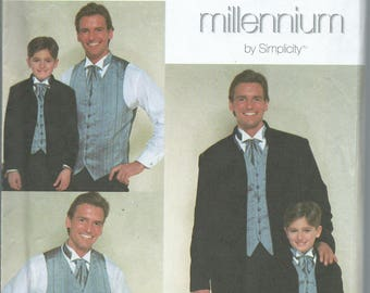 Simplicity 8808 Boys' and Men's Jacket, Vest and Ascot -Size S-L/S-XL - 1999 Sewing Pattern UNCUT