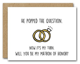 Will You Be My Matron Of Honor Card, INSTANT DOWNLOAD, Bridal Party Card, Wedding Card, MOH Card, Matron Of Honor Proposal Card, Printable