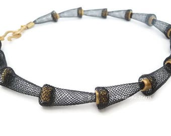 Black Mesh Necklace - Black Gold Necklace - Gold Mesh Necklace - Black Gold Collar - Mesh Gold Collar - Black Net Necklace