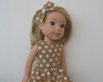 """Wellie Wishers American girl 14.5"""" Doll Clothes Dress,Hair Snap"""