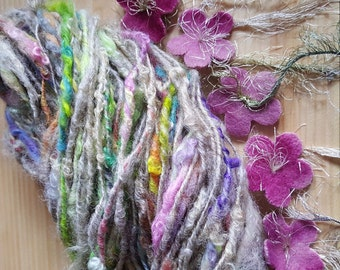Art yarn handspun Love Is In The Air 4 oz. rustic wool with felted flowers