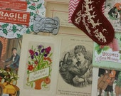 Christmas Inspiration paper ephemera kit. winter art journal supplies. tags. ribbon. vintage postcards. embellishments. labels. 80 pcs