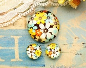 Smaill Floral Glass Cabochons, 8mm 10mm 12mm 14mm 16mm 18mm 20mm 25mm 30mm Photo Glass Dome - RCH011A