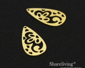Exclusive - 10pcs Raw Brass Teardrop Charm / Pendant,  Heart Teardrop, Fit For Necklace, Earring, Brooch - TG298