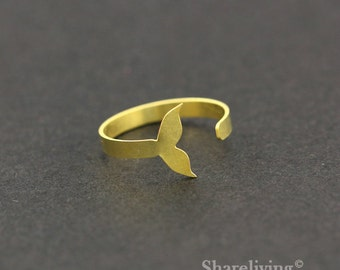 2pcs Raw Brass Whale Tail Ring, Adjustable Whale Brass Rings - TR023