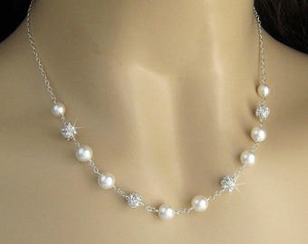 Pearl Necklace,  Bridal Pearl and Crystal Rhinestone Fireball Wedding Necklace in White or Ivory, Pearl Bridal Necklace, Wedding Jewelry