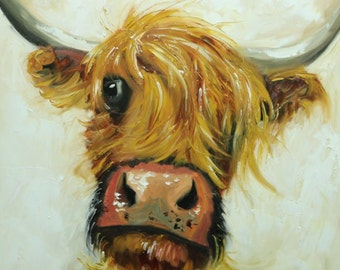 Cow painting 1181 24x24 inch animal original oil painting by Roz