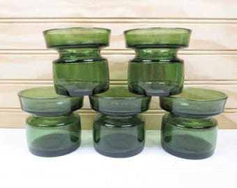 5 Vintage Dansk Designs Green Glass Candle Holders Jens Quistgaard Danish Modern Denmark