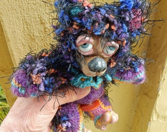 OOAK Artist Bear-Elliot-Crochet Thread and Clay Bear-Carla Smale