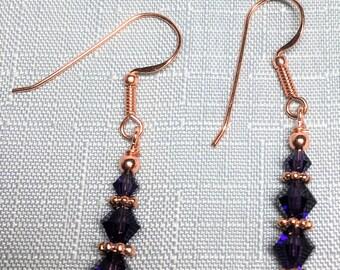 Deep Tanzanite Czech Glass Copper Dangle Drop Earrings #281