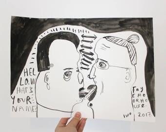 Original Painting | LOVERS KISS KISS | Gouache on paper