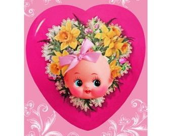kewpie doll valentine print 5 x 7 KEWPENTINE