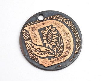 Handmade copper D charm, round flat etched sunflower pendant, letter, 25mm