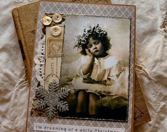 Dreaming of a White Christmas Collage Christmas card,handmade card,collage card,vintage image card
