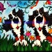 bernese mountain dog berner bmd garden flowers daisies puppy whimsical dog field butterfly maggie brudos painting Original whimsical DOG art