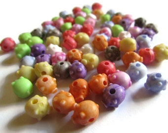 75 8mm Assorted Color Beads Pig Beads Farm Animal Beads Piggy Bank Beads Plastic Beads Small Beads Tiny Beads Acrylic Side Drilled Beads