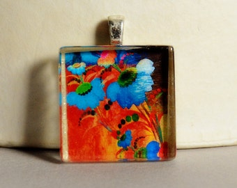 Abstract Floral Glass Tile Pendant #2 - Modern Floral Pendant