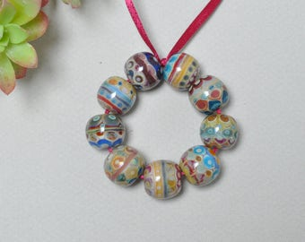 Weird watercolors - Lampwork beads by Loupiac
