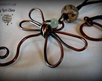 Copper and New Jade Dragonfly Pendant