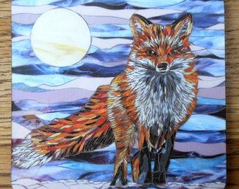 Fox Coaster - Moonlight Fox Mosaic Art - Housewarming Gift - Drinks Coaster - Rustic Home Decor - Kitchen Decor - Fox Art - Rustic Coasters