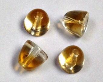 Vintage German GLASS BEADS Yellow CONE shape 8x7mm pkg4 gl471