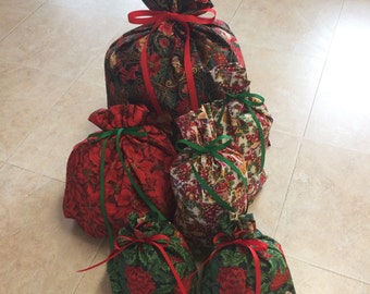 Christmas Gift Bags - 6 Santa Poinsettia -  Reusable Eco-Friendly Cotton Fabric