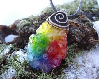 Rainbow Solar Quartz Necklace - Clay - Woodland Fairy Hippie Boho Chic Shaman Pixie Earthy